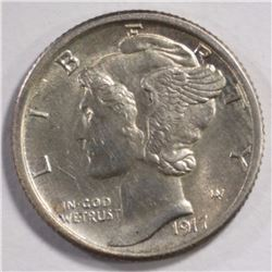 1917-S MERCURY DIME, CH BU FULL BANDS