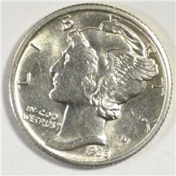 1935-D MERCURY DIME, CHOICE BU