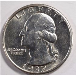 1937-S WASHINGTON QUARTER, AU