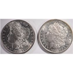 1880-O & 1882 MORGAN DOLLARS, CHOICE BU