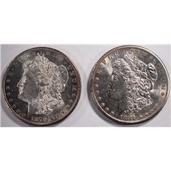 1879-S & 1881-S MORGAN DOLLAR, CHOICE BU