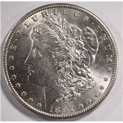 1897-S MORGAN DOLLAR, CHOICE BU