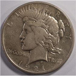 1921 PEACE SILVER DOLLAR, CHOICE XF