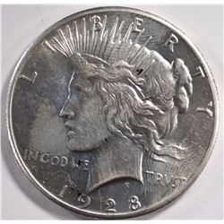 1928 PEACE SILVER DOLLAR, AU/UNC KEY