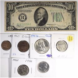 MIXED COLLECTOR LOT: 1858 FLYING EAGLE CENT,