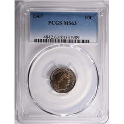 1907 BARBER DIME PCGS MS-63  TONED