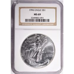 1996 AMERICAN SILVER EAGLE NGC MS-69