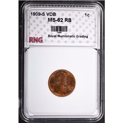 1909-S VDB LINCOLN CENT RNG CH BU RB