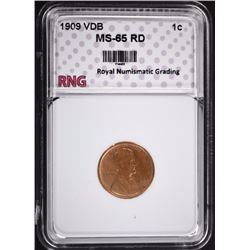 1909 VDB LINCOLN CENT RNG GEM BU RD