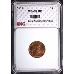 1918 LINCOLN CENT RNG GEM BU RD