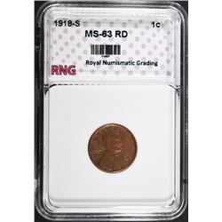 1918-S LINCOLN CENT RNG CH BU RD