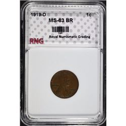 1919-D LINCOLN CENT RNG CH BU BR