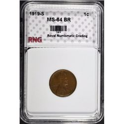 1919-S LINCOLN CENT RNG CH BU BR
