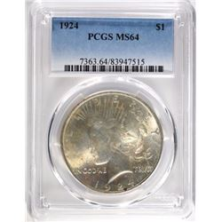 1924 PEACE DOLLAR PCGS MS64