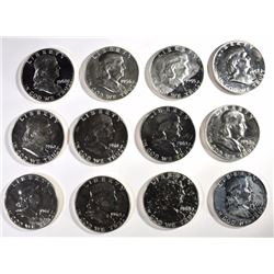 12 - PROOF FRANKLIN HALF DOLLARS VARIOUS DATES