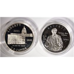 2 - SILVER PROOF COMMEM DOLLARS; 2001