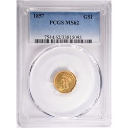 1857 GOLD DOLLAR, PCGS MS-62