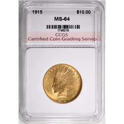 1915 $10.00 GOLD INDIAN, CCGS CH/GEM BU