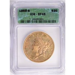 1865-S $20.00 GOLD LIBERTY, ICG EF-45 LOOKS AU