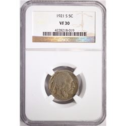 1921-S BUFFALO NICKEL, NGC VF-30