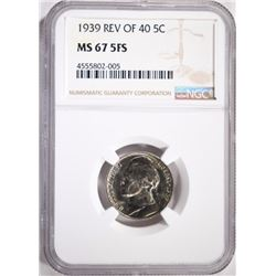 1939 REVERSE OF 40 JEFFERSON NICKEL, NGC MS-67 FS