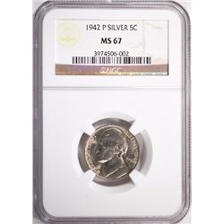 1942-P JEFFERSON NICKEL, NGC MS-67