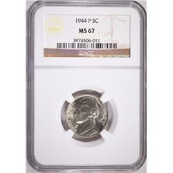 1944-P JEFFERSON NICKEL, NGC MS-67