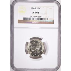 1943-S JEFFERSON NICKEL, NGC MS-67