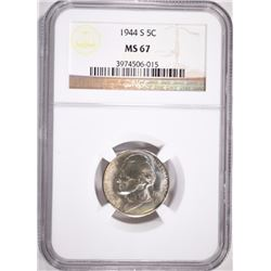 1944-S JEFFERSON NICKEL, NGC MS-67