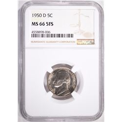 1950-D JEFFERSON NICKEL, NGC MS-66 FULL STEPS
