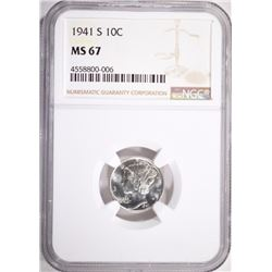 1941-S MERCURY DIME, NGC MS-67