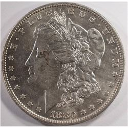 1880-O MORGAN SILVER DOLLAR, CHOICE BU