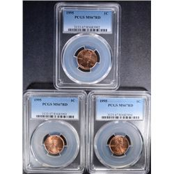 (3) 1995 LINCOLN CENT PCGS MS-67RD