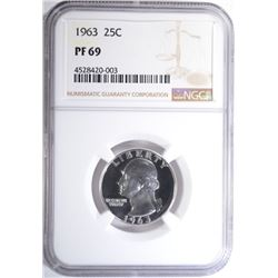 1963 WASHINGTON QUARTER, NGC PF-69