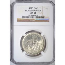 1925 STONE MOUNTAIN HALF NGC MS-64