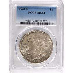 1921-S MORGAN DOLLAR, PCGS MS-64