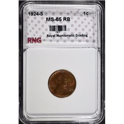 1924-S LINCOLN CENT RNG GEM BU RB