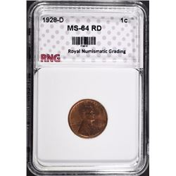 1928-D LINCOLN CENT RNG CH BU RD
