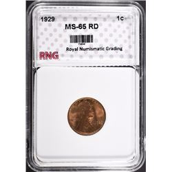 1929 LINCOLN CENT RNG GEM BU RD
