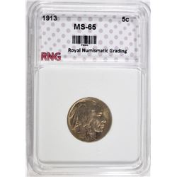 1913 BUFFALO NICKEL RNG GEM BU