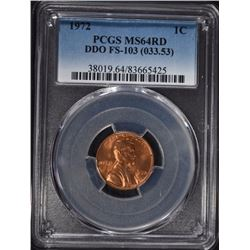 1972 LINCOLN CENT DDO FS-103 (033.53) PCGS MS64 RD