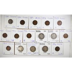 5 - DIFF BARBER QUARTERS plus 11 - DIFF CENTS