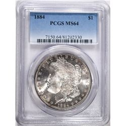 1884 MORGAN SILVER DOLLAR PCGS MS64