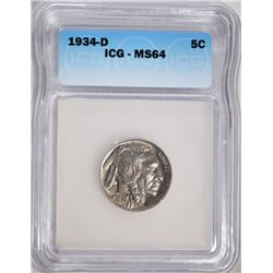 1934-D BUFFALO NICKEL ICG MS-64