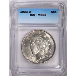 1923-D PEACE DOLLAR ICG MS-63