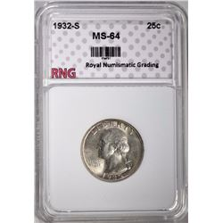 1932-S WASHINGTON QUARTER RNG CH BU