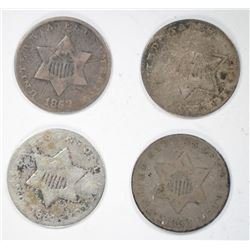 3 CENT SILVERS CIRC, 1853, 1851, 1852, 1857