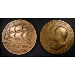 2 - HUGE BRONZE MEDALS; NIXON/EISENHOWER,