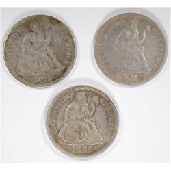 SEATED DIMES; 1885 XF/AU, 1861 VG/F,