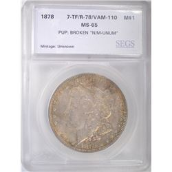 1878 7TF REV of 78 MORGAN DOLLAR VAM 110